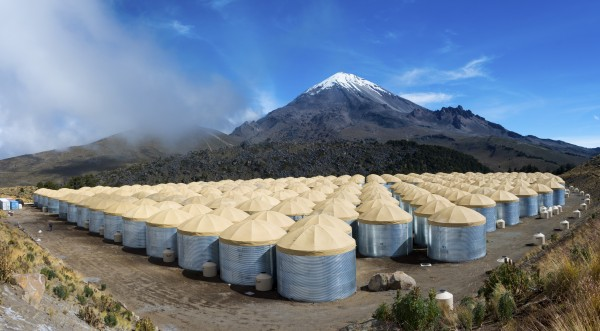 The HAWC Observatory sits at an elevation of 13,500 feet, flanking the Sierra Negra volcano inside Pico de Orizaba National Park in the Mexican state of Puebla. Its more than 300 water tanks can detect cascades of particles initiated by high-energy packets of light called gamma rays.