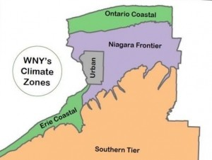 Western New York's eight-county region, including Buffalo and Niagara Falls, is divided into five climate zones.