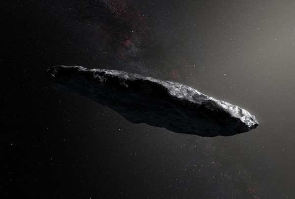 •	An artist's impression shows the first interstellar asteroid, `Oumuamua. Observations show that this unique object was travelling through space for millions of years before its chance encounter with our star system.