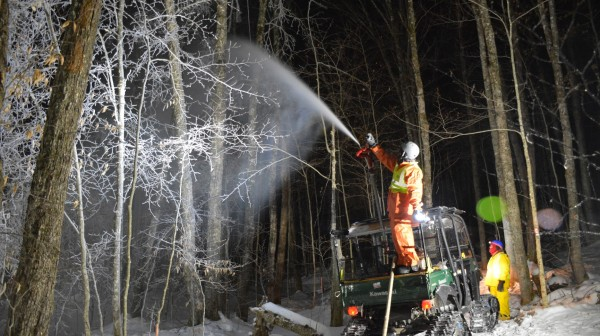 Night icing during an ice storm experiment at the Hubbard Brook Experimental Forest, NH.