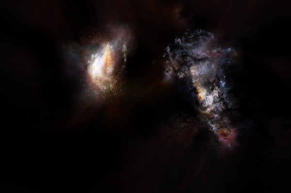 Artist impression of a pair of galaxies from the very early universe.