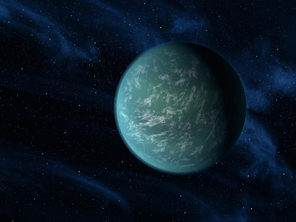 Artist's depiction of what exoplanet Kepler 22b might look like. It was discovered by the Kepler satellite telescope. Kepler 22b likely receives a similar amount of light and heat from its star as our Earth does from our sun.