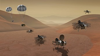 he Dragonfly dual-quadcopter, shown here in an artist's rendering, would land on Saturn's moon Titan and then make multiple flights to explore diverse locations as it characterizes the habitability of the ocean world's environment. On Dec. 20, Dragonfly was chosen as a finalist for NASA's New Frontiers program.