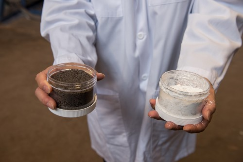 New materials under development at The Ohio State University, including a patented iron oxide particle (left), are enabling cleaner fossil fuel technologies.