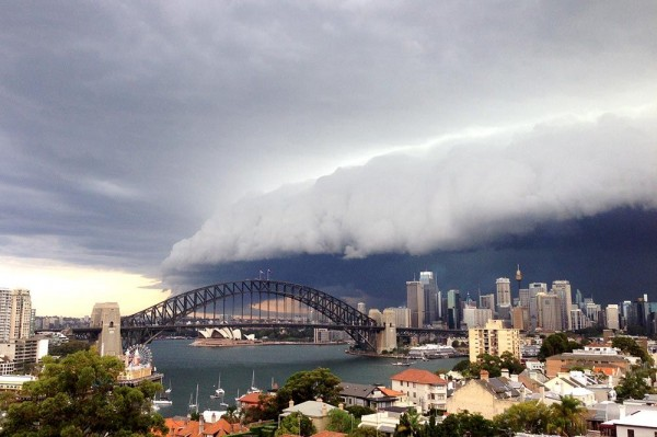 A large storm cloud covers the Sydney CBD on March 5, 2014 in Sydney, Australia