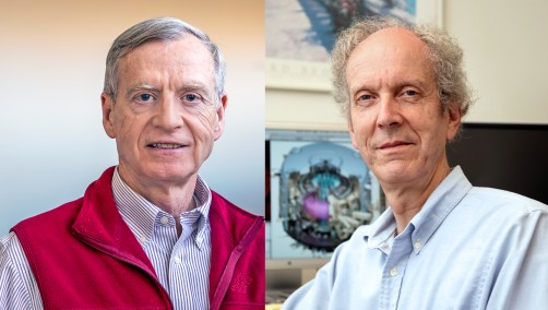 Physicists David Johnson and Charles Skinner.