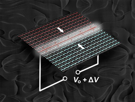 Working towards rewritable nanoscale wires, researchers controlled electrical conductivity in 2-D ferroelectric domain walls by applying a voltage (V). The domain walls behaved like an electric switch. The charges responsible for this behavior were localized to within a few atom widths (a nanometer) of the domain walls, the barriers between regions with different electronic properties, in erbium manganite. In the atomic-resolution electron microscopy image, the positive (red) and negative (blue) polarizations come together in the white region. This polarity mismatch forms a positively charged (head-to-head) domain wall. Applying a voltage added more charge carriers to the domain wall, switching the conductivity of the channel.