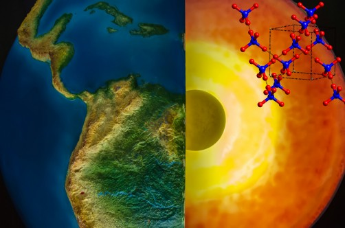 The molecular structure of ice-VII (upper right) is shown with an artistic rendering of the Earth and a cutaway view of the inner Earth (right). Crystallized water, in the form of ice-VII, was found in diamond samples studied at Berkeley Lab. Its presence suggests liquid water may exist at extreme depths.