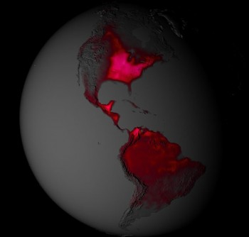 The biochemistry of photosynthesis in plants produces a faint red glow, a process called solar-induced chlorophyll fluorescence (SIF). This light can be detected from space by satellites and indicates global patterns of photosynthesis. The team used SIF data to evaluate alternative methods to model the properties of photosynthetic biochemistry across the planet. This NASA image is a visualization of SIF data showing global land plant fluorescence in the northern hemisphere summer. Darker reds show areas with low fluorescence; lighter reds and pinks display areas of high fluorescence. Note the high values in the agricultural American mid-west.