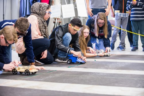 After the design contest, middle-school teams raced their electric cars in three heats.