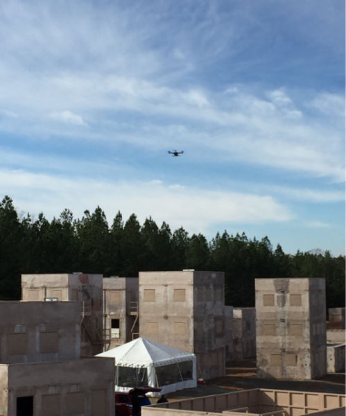 A drone flies over the Urban Test Center.