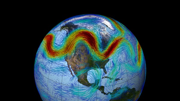 An illustration of the Northern Hemisphere's polar jet stream.