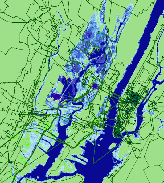 Seawater inundation projected for New York City by 2033 and its effect on internet infrastructure. Undersea cables, long haul fiber cables and metro fiber cables are shown in the red/green/black lines respectively. Anything in the blue shaded areas is estimated to be underwater in 15 years due to climate change induced sea level rise as projected by the National Oceanic and Atmospheric Administration. (