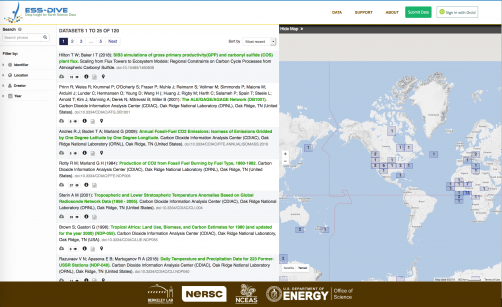 This is a screenshot of the ESS-DIVE Data Access Portal, which enables search of the entire text within the metadata submitted by contributors, and allows filtering by geographic location through a map, and other criteria such as DOI, authors, keywords and publication year.