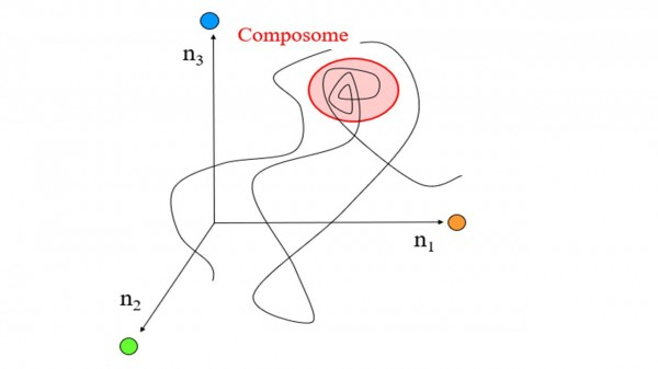 "A ""walk"" in composition space for a ""Lipid World"" molecular assembly, shown in simplified 3D. A point on the line signifies a specific composition along the time axis, whereby the three coordinates are amounts of the three different molecule types. A ""composome"" (pink background) is a time interval when the composition stays almost unchanged, signifying compositional replication."