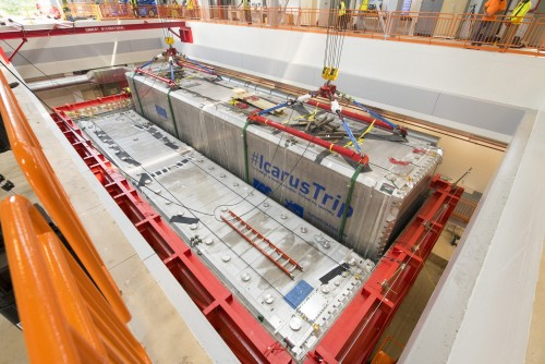 The second of two ICARUS detector modules is lowered into its place in the detector hall.