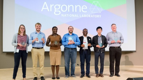 These seven students received awards for the best presentations at the end of Argonne's two-week Modeling, Experimentation and Validation summer school.