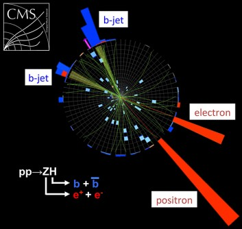 This display shows an actual particle collision in the CMS detector resulting in the production of a Higgs boson candidate that subsequently decayed into two bottom quarks.