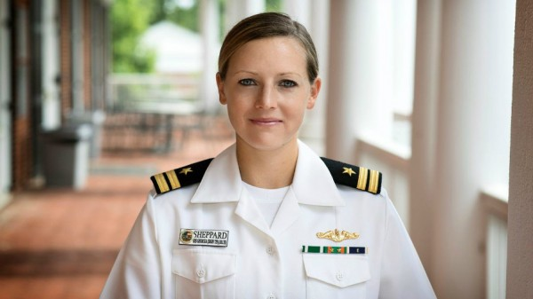 "U.S. Navy Lt. Taylor Sheppard is fitting an MBA and training for a Hawaiian ocean swim into her ""shore leave"" from submarine duty."