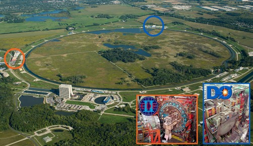 Aerial view of the CDF and DZero experiments at the Fermilab Tevatron Collider, the highest energy particle collider in the world for over the two decades until 2009.
