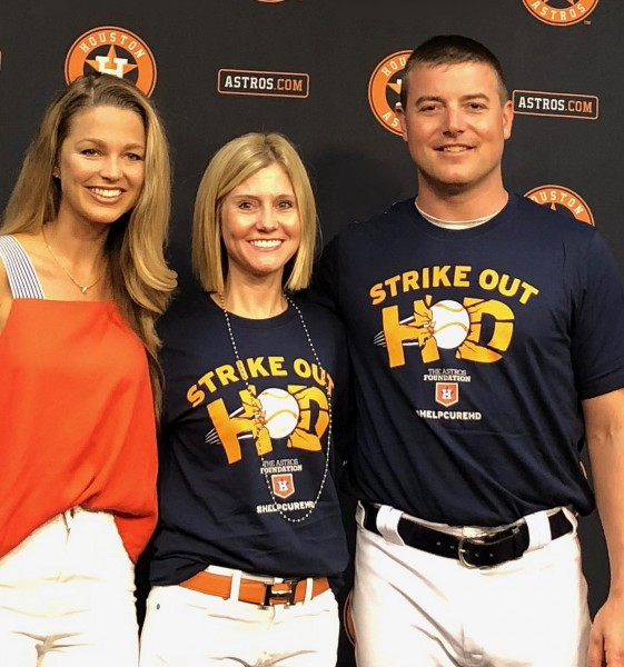 Erin Furr-Stimming, M.D., with Astros pitcher Joe Smith and his wife TV sports reporter Allie LaForce.