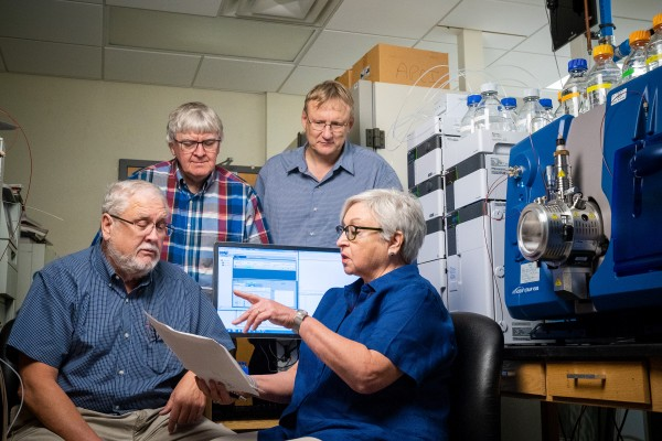 Scientists in the St. Jude Children's Research Hospital departments of Infectious Diseases, Structural Biology and Chemical Biology and Therapeutics joined forces to discover a promising new class of compounds for treatment of PKAN, a progressive neurodegenerative disease.  Pictured left to right are Charles Rock, Ph.D., Stephen White, Ph.D., Richard Lee, Ph.D. and Suzanne Jackowski, Ph.D.