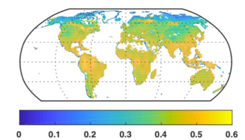 Photosynthesis-inactive period nutrient uptake is a large proportion of annual uptake globally. This map shows the fraction of annual plant nitrogen uptake that occurs during photosynthesis-inactive periods.