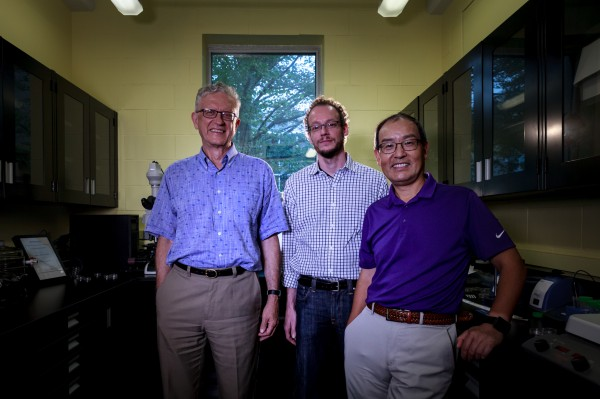 From left to right: Astrophysicist Ralph Pudritz, Maikel Rheinstadter, a biophysicist and associate professor in McMaster's Department of Physics and Astronomy and  Biochemist Yingfu Li.