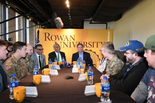 Newswise: U.S. Senator Booker, Rep. Norcross discuss issues with Rowan student military personnel