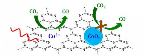 Schematic of a single-site catalyst in which single cobalt ions (Co2+) supported on a graphitic carbon nitrogen layer (C3N4) reduce carbon dioxide (C02) to carbon monoxide (CO) in the presence of visible light (red wavy arrow). If cobalt were bound with oxygen to form a cobalt oxide (CoOx), the reaction would not proceed.