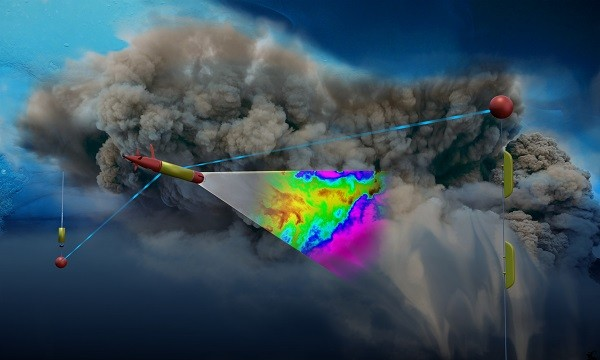 An artist's depiction of LRAUV under sea ice. Using photo-chemical sensors, the robot scans the density of a billowing cloud of oil coming from an ocean floor well. The red and yellow objects are parts of a communication system consisting of antennas suspended under ice from a buoy installed on top of the ice.